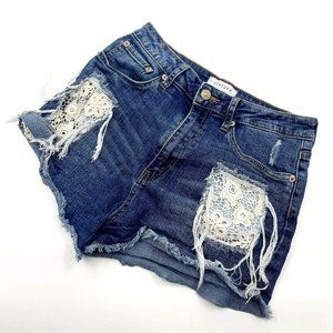 Just USA Lace Cut Out Distressed Jean Shorts